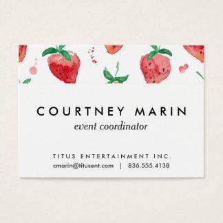 Cartão De Visitas Morangos rosa & bagas pintadas vermelho da