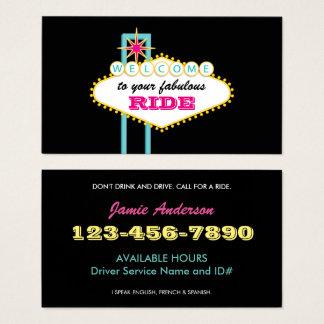 Cartão De Visitas Motorista do profissional do sinal de Las Vegas