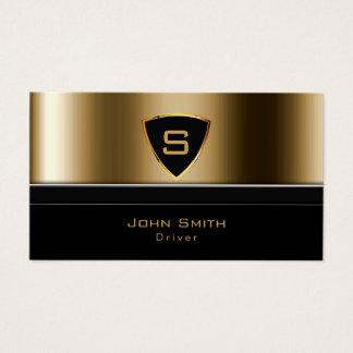 Cartão De Visitas Motorista luxuoso do monograma do ouro do serviço