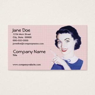 Cartão De Visitas Mulher apontando dos anos 50 retros