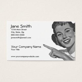 Cartão De Visitas Mulher apontando retro