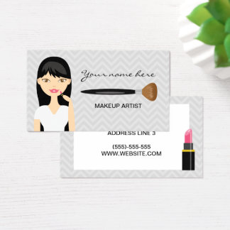 Cartão De Visitas Mulher com o maquilhador longo preto do cabelo