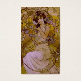 Cartão De Visitas Mulher de Nouveau da arte com Clematis
