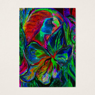 Cartão De Visitas Mulher e flor, cores profundas (m4sol)