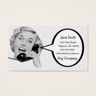 Cartão De Visitas Mulher retro no telefone