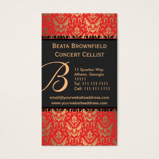 Cartão De Visitas Músico elegante do damasco do Shimmer do vermelho