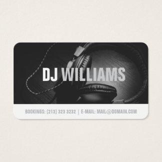 Cartão De Visitas Músico preto e branco moderno do disco-jóquei do
