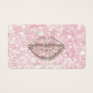 Cartão De Visitas Na moda moderno, maquilhador, Bokeh, lábios
