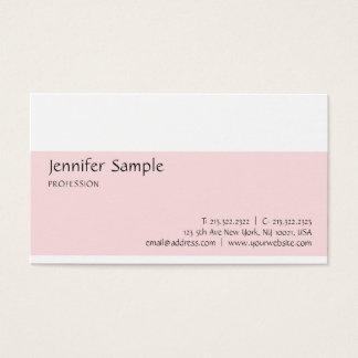 Cartão De Visitas Na moda moderno minimalista branco cor-de-rosa do
