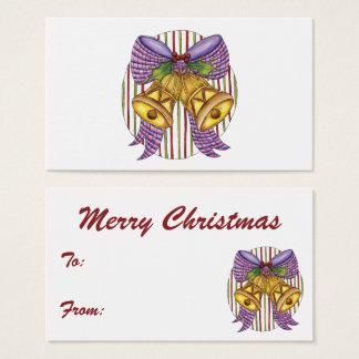 Cartão De Visitas Natal Bels bonito com um arco e um azevinho da