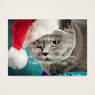 Cartão De Visitas Natal cinzento do gato - gato do Natal - gato do
