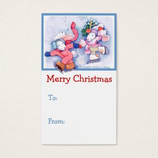Cartão De Visitas Natal de patinagem dos coelhos