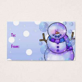 Cartão De Visitas Natal do Tag-Boneco de neve do presente boas