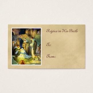 Cartão De Visitas Natal do Tag do presente de Jesus do comedoiro