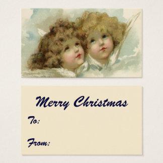 Cartão De Visitas Natal vintage, anjos do Victorian nas nuvens