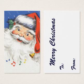 Cartão De Visitas Natal vintage, Papai Noel alegre com música