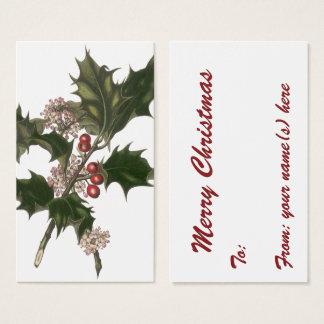 Cartão De Visitas Natal vintage, planta verde do azevinho com bagas