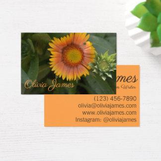 Cartão De Visitas Natureza amarelo alaranjado da planta de jardim da