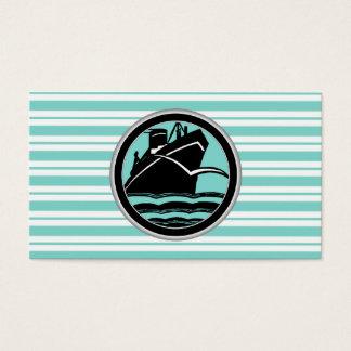Cartão De Visitas Navio de cruzeiros do Lt Azul Branco Listrado