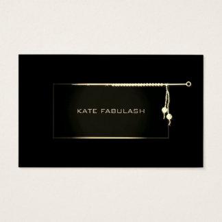 Cartão De Visitas Needlewoman preto da forma do diamante dos
