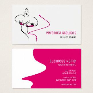 Cartão De Visitas Negócio à moda do rosa da ilustração da forma