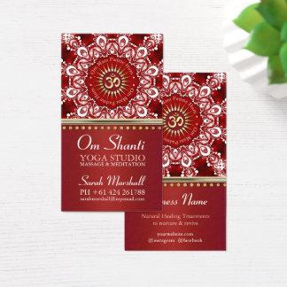 Cartão De Visitas Negócio branco vermelho da ioga da mandala da cura
