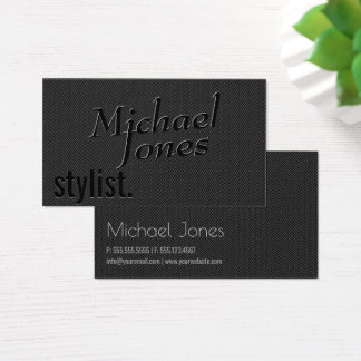 Cartão De Visitas Negócio gravado preto do estilista do olhar