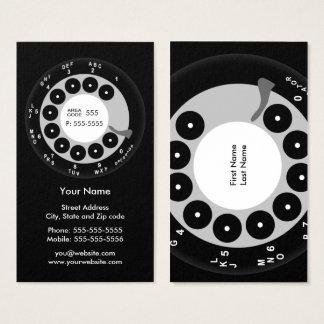 Cartão De Visitas Negócio preto & branco do telefone retro/cartão de