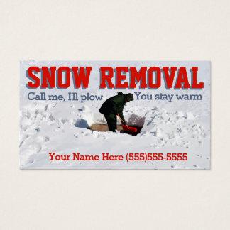 Cartão De Visitas Neve que ara o negócio da remoção de