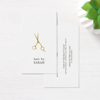 Cartão De Visitas Nomeação branca mínima do cabeleireiro do ouro do