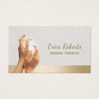 Cartão De Visitas Nomeação cura dos termas das mãos da terapia da