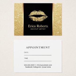 Cartão De Visitas Nomeação do maquilhador dos lábios do brilho do