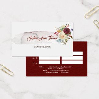 Cartão De Visitas Nomeação floral de Borgonha do Watercolour