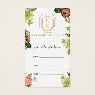 Cartão De Visitas Nomeação floral do vintage do monograma do art