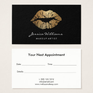 Cartão De Visitas Nomeação preta dos lábios do brilho do ouro do