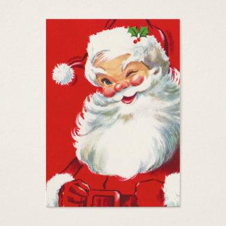 Cartão De Visitas Nomes de etiqueta retros de Papai Noel