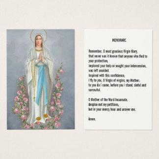 Cartão De Visitas Nossa senhora da oração de Lourdes Memorare do