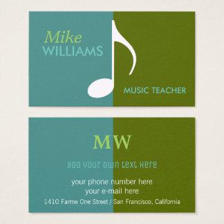 Cartão De Visitas nota musical em moderno azul & verde