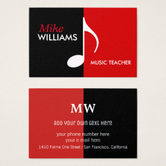 Cartão De Visitas nota musical em moderno preto & vermelho