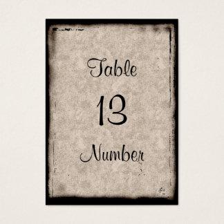 Cartão De Visitas Número gótico da mesa do convidado do castelo