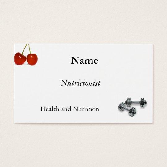 Cartão De Visitas Nutrição, exercício