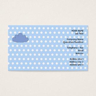 Cartão De Visitas Nuvem azul em pontos de polca azuis e brancos