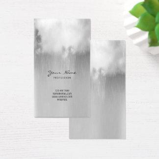 Cartão De Visitas Nuvem de chuva metálica Ombre das cinzas de prata