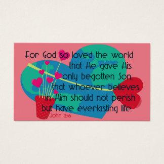 Cartão De Visitas O 3:16 de John para o deus amou assim o mundo