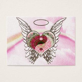 Cartão De Visitas O anjo do coração de Yin Yang voa a aguarela