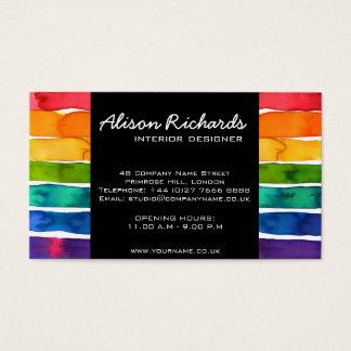 Cartão De Visitas O arco-íris colorido na moda listra o design de