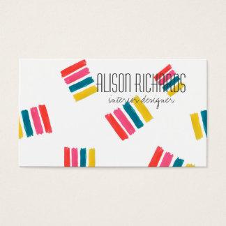 Cartão De Visitas O arco-íris colorido simples listra o design de