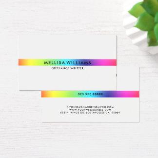 Cartão De Visitas O arco-íris de Minimalistic colore a listra fina