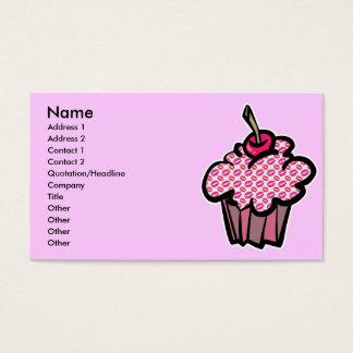 Cartão De Visitas o batom beija o cupcake, nome, endereço 1, Addre…