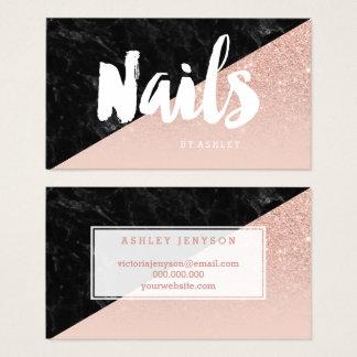 Cartão De Visitas O bloco moderno da tipografia das unhas cora ouro